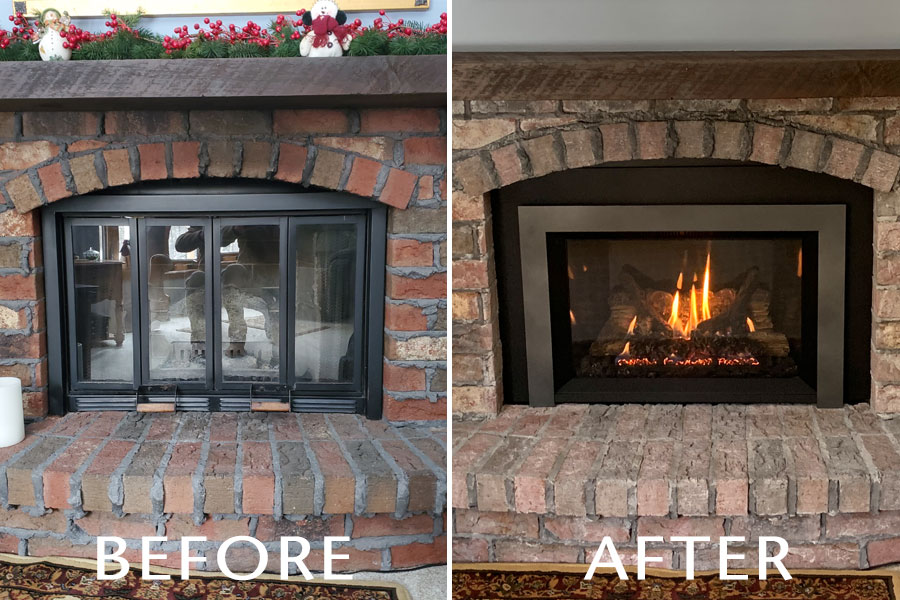 before and after fireplace installation